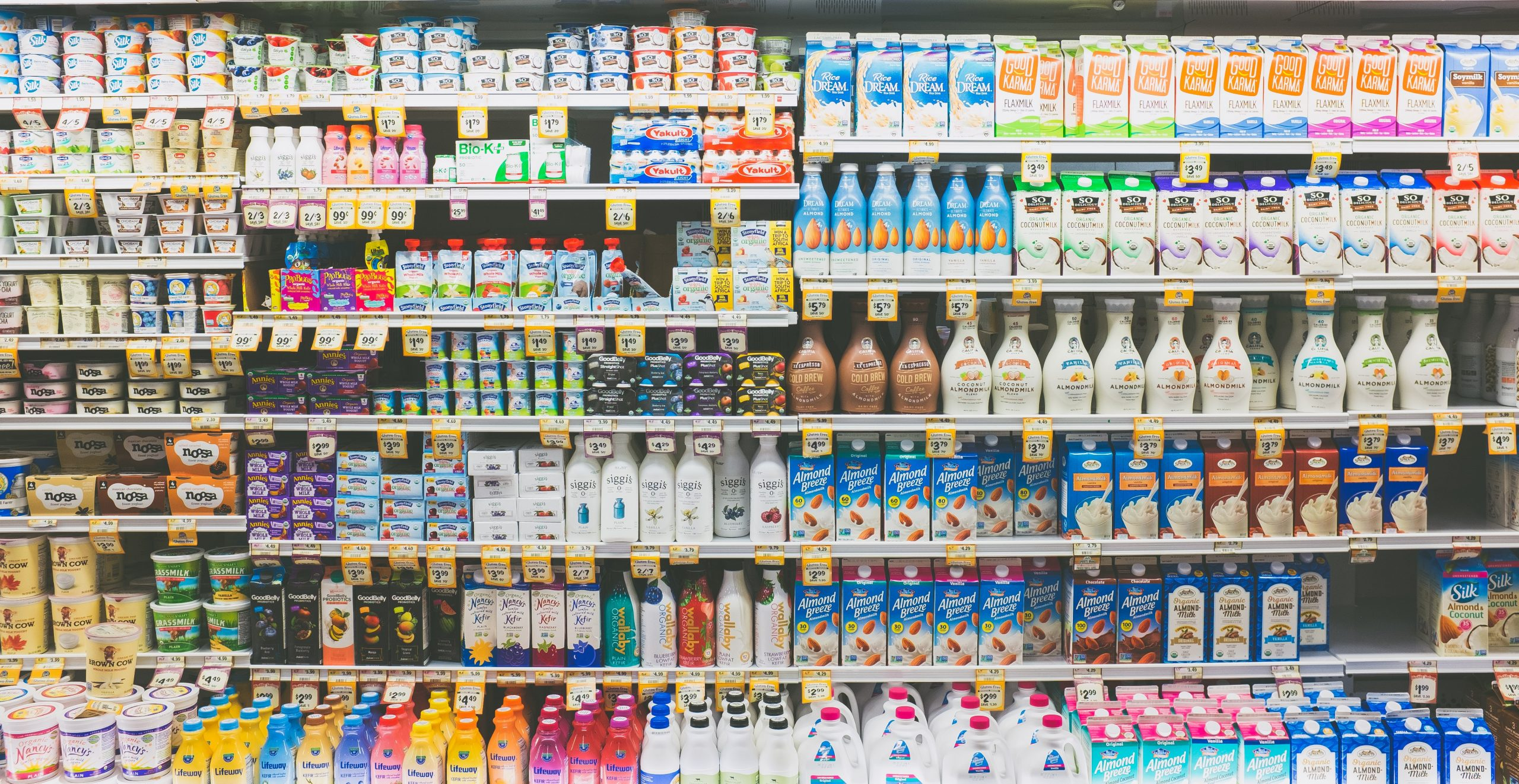 Dairy products on shelves